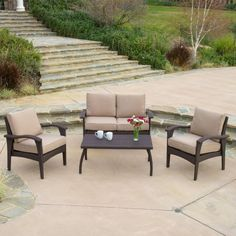 Becka Outdoor 4-piece Brown Wicker Seating Set and Cushions