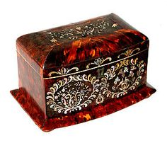 Antique   Tortoise Shell Tea Caddy