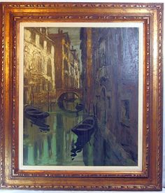 http://stores.ebay.com/mariasantiqueandvintage Vtg Signed MONTANI Impressionist Oil Painting MID CENTURY Canals of Venice Italy #Impressionism