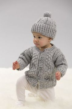 Create the wonderful texture of cables with crochet! This classic hat and sweater set will stay in style and it's perfect for boys and girls alike.