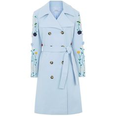 Vivetta Blue Cotton Embroidered Glenda Coat ($1,070) ❤ liked on Polyvore featuring outerwear, coats, blue, blue trench coat, blue waist belt, colorful trench coats, double breasted trench coat and heavy trench coat