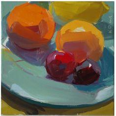 bold, bright, saturated, color, orange, cherries, square