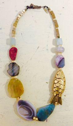Big gold Fish Necklace, by Mimi Scholer, German jewelry designer in Barcelona