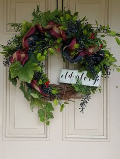 Vintage Inspired Americana Wreath  Patriotic Wreaths 4th of