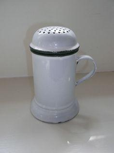 vintage enamel flour / sugar shaker by B W