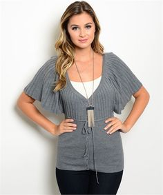 #batwing #greytop #boutiquetop | Grey Bat-Wing V Neck Women's Boutique Top | Cali Boutique |  FREE shipping to the U.S.
