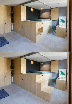 The stairs for this lofted bed can be neatly tucked away in this small apartment.