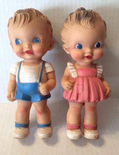 2 Vintage Rubber Squeak Dolls Sun Rubber Co. Ruth E. Newton Boy and Girl Pair