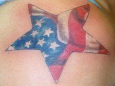 Patriotic Tattoos for women | American Flag Star Tattoo