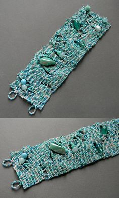 Turquoise freeform bracelet boho style freeform by Anabel27shop
