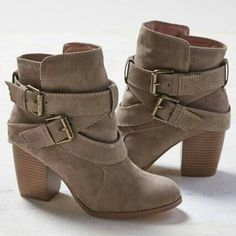 Winter Women Boots Ladies Casual Martin Boots Suede Leather Square High Heels Shoes Woman Ankle Snow Boots Plus Size Botas Mujer High Heels Boots, Chunky High Heels, Heeled Boots, Block Heel Ankle Boots, Leather Ankle Boots, Suede Boots, Suede Leather, Ugg Boots, Ankle Booties
