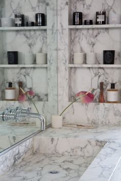 Obsessed with this all marble sink. Van Ness – SIMO DESIGN Obsessed with this all marble sink. Home Room Design, Bathroom Interior Design, Gold Bad, Marble Shelf, Marble House, Bathroom Shelf Decor, Classic Home Decor, Dream Bathrooms, Vanities