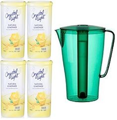Bundle (5) Items ~ (1) Green Solfint Pitcher with Lid, 68 Oz with Removable Freezer Insert & (4) Containers of Crystal Light (Makes 48 Quarts Total), Lemonade - http://teacoffeestore.com/bundle-5-items-1-green-solfint-pitcher-with-lid-68-oz-with-removable-freezer-insert-4-containers-of-crystal-light-makes-48-quarts-total-lemonade/