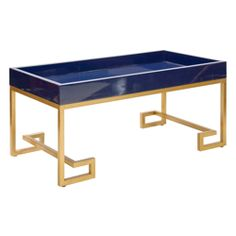 Conrad Navy Lacquer Tray Coffee Table With Gold Leafed Greek Key Base by Worlds Away CONRAD NVYG