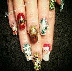 Santa, reindeer, snowman, holly, coffin shaped acrylic nails