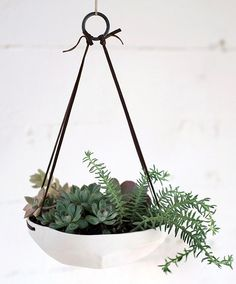 The leather cords holding up these bad boy are a stunning detail. – Absolutely Beautiful Etsy Planters