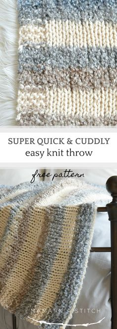 This super easy, free blanket knitting pattern is really quick and simple! This blanket would work up quite fast on large needles.  Links to tutorials as well that show you how to knit. #crafts #diy #freeknittingpatterns via @MamaInAStitch