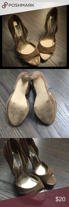 Steve Madden heels Worn once...Steve madden suede heels!!! Steve Madden Shoes Heels