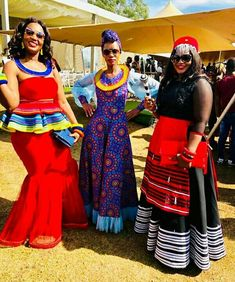 Left: lady in Sepedi inspired peplum mermaid dress and accessories. (Middle) lady in long African print dress with chiffon sleeves and hem Headwrap and accessories. (Right) lady in Xhosa umbhaco African Dress Patterns, African Print Dresses, African Print Fashion, Xhosa Attire, African Attire, African Outfits, Venda Traditional Attire, Traditional Outfits, Latest African Fashion Dresses