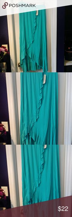 French Connection New Ruffle Long Skirt 2x Brand new French Connection blue ruffle skirt size 2x French Connection Skirts High Low