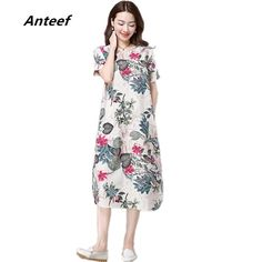 Cotton Linen Vintage Floral print, casual loose long summer dress - Save 50% - Free Shipping