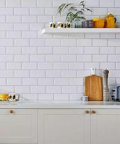 Metro white tiles for kitchen Topps Tiles Brick Effect Tiles, White Brick Tiles, White Kitchen Sink, Kitchen Tops, Shaker Kitchen, Metro Tiles Kitchen, Topps Tiles, Wall Tiles, Subway Tiles
