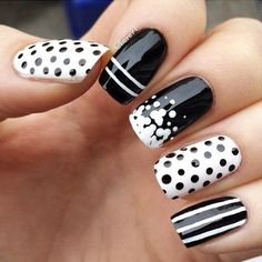 Elegant Black And White Nail Art Designs You Need To Try; Elegant Black And White Nail Art Designs; Elegant Black And White Nail; Black And White Nail; Black And White Nail Art Designs; Black And White Nail Designs, Black And White Nail Art, Black Nails, White Art, White Glitter, Brown Nails, Black Dots, White White, Fancy Nails