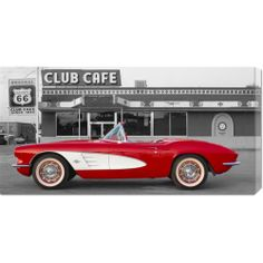 Big Canvas Co. Unknown '1961 Chevrolet Corvette at Club Cafe on Route 66'…