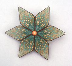 Polymer Clay Teal Flower Brooch by K. Hernandez - Polymer Clay Art, via Flickr