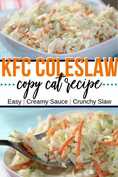 KFC Coleslaw you can make at home easily to taste like the original. Homemade coleslaw with a homemade dressing. The perfect side dish for summer bbq's and potluck dinners. Southern Coleslaw, Potluck Salad, Creamy Coleslaw, Asian Coleslaw, Cooking Recipes, Healthy Recipes, Cat Recipes, Restaurant Recipes, Southern Recipes