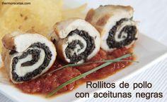 rollitos de pollo con aceitunas negras thermorecetas Rollitos de pollo y aceitunas negras