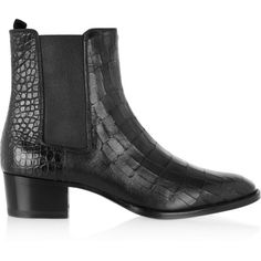 Saint Laurent Wyatt croc-effect leather ankle boots, Women's, Size: 37 (14.077.050 IDR) ❤ liked on Polyvore