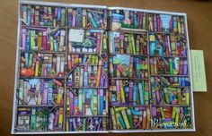 Colin Thompsons / Fantastisches Malbuch Seite 1 - Die Welt der Bücher, gemalt mit Koh-I-Noor und Ergo-soft Farben