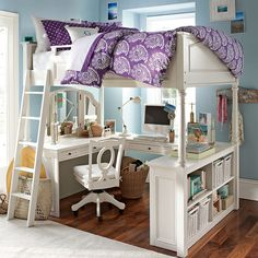 Full-size loft bed with vanity and study space