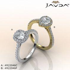 A. Cushion Diamond Share Prong Set Engagement Ring GIA F VS2 18k White Gold 1.06Ct. B. Pear Cut Diamond Engagement GIA G VVS2 Shared Prong Set Ring 18k Yellow Gold 1Ct.