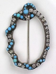 Extremely RARE Victorian Silver Paste Cabochon Turquoise Serpent Brooch Sparkles