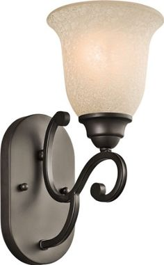 Kichler Lighting 45421OZ Camerena 1-Light Wall Sconce, Olde Bronze Finish with White Scavo/Light Umber Glass *** undefined