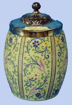 148: EUROPEAN BRISTOL GLASS BISCUIT JAR : Lot 148