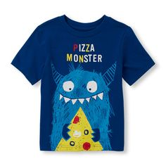 s Toddler Boys Short Sleeve 'Pizza Monster' Graphic Tee - Blue T-Shirt - The Children's Place