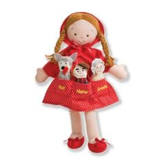 """CLICK PIC TO BUY!   Dolly Pockets™ Little Red Riding Hood holds finger puppet characters from this treasured story. Pair it with our Vintage Print Red Riding Hood book for an extra special gift for your best girl.  We are happy to be carrying North American Bear Dolls.  All designs are protected under copyright. 14"""" Doll $25.00 www.nobleniches.com #littleredridinghood #birthdaygiftgirl #doll #storybook #fingerpuppets #ragdoll #redridinghood #girlgift #toy #nobleniches #noblenichesvintage…"""