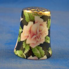 Gold top porcelain thimble - pink rose floral chintz -- free gift box