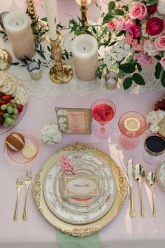 Beautiful Pink and gold tablescape.