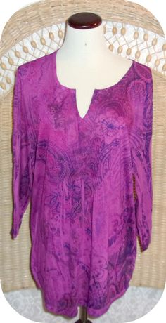 BOBBIE BROOKS Womens Top Plus Size 3X Purple Red Paisley 3/4 Sleeve Polyester #BobbieBrooks #KnitTop #CareerCasual