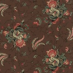 COMMUNITY Collections for a Cause by Howard Marcus Reproduction Morning Glory Chocolate Brown Red Ivory Teal for Moda Fabric - Yardage