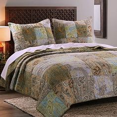 .. Vintage Retro Paisley Bedding Patchwork Print Pattern Brown Blue Green Luxury 100 Cotton Reversible 3 Piece Quilt Set with Pillow Shams