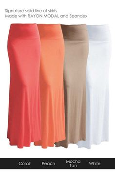 Women's Rayon Modal Solid Stretch Flared A-line Maxi Long Skirt #CustomMade #Maxi
