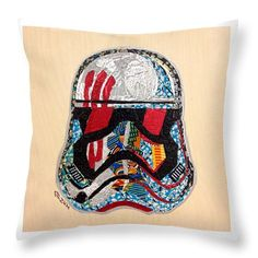 "$27 Strom Trooper Fn-2187 Helmet Star Wars Awakens Afrofuturist Collection Throw Pillow by Apanaki Temitayo M.  Our throw pillows are made from 100% spun polyester poplin fabric and add a stylish statement to any room.  Pillows are available in sizes from 14"" x 14"" up to 26"" x 26"".  Each pillow is printed on both sides (same image) and includes a concealed zipper and removable insert (if selected) for easy cleaning."