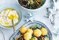 Risottobällchen mit Linsengemüse und Joghurtdip Risotto, Vegan Dishes, Paleo, Palak Paneer, Eggs, Breakfast, Ethnic Recipes, Low Carb, Food