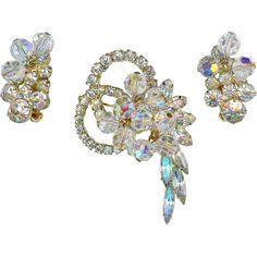 STRIKING JULIANA D Crystal Bead Dangle Earrings Brooch Pin Set Demi