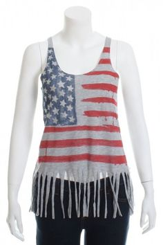 DIY INSPIRATIONAL IMAGE: $12. The Classic American Flag Shredded T-Shirt